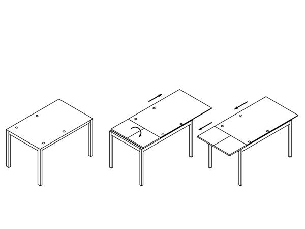 Стол обеденный B2170 (мат, стекло оранжевое ORANGE) - схема трансформации.